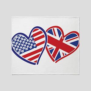 USA and UK Flag Hearts Throw Blanket