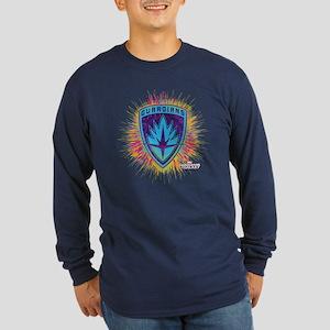 GOTG Logo Neon Splat Long Sleeve Dark T-Shirt