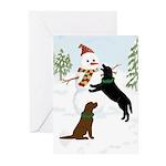 Black & Chocolate Labs Snowman (pk Greeting Ca