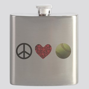 Peace Love Softball Flask