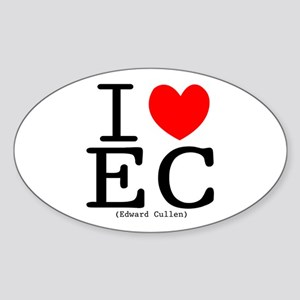 """I (heart) Edward Cullen"" Oval Sticker"