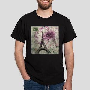 floral vintage paris eiffel tower T-Shirt