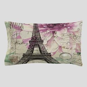 floral vintage paris eiffel tower Pillow Case