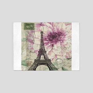 floral vintage paris eiffel tower 5'x7'Area Rug