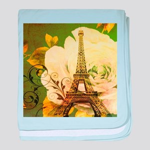 floral vintage paris eiffel tower baby blanket
