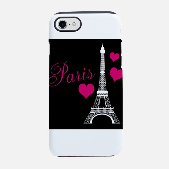 Paris Eiffel Tower in Black iPhone 8/7 Tough Case