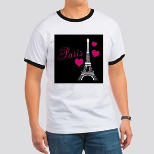 Paris Eiffel Tower in Black T-Shirt