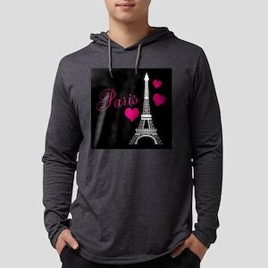 Paris Eiffel Tower in Black Long Sleeve T-Shirt