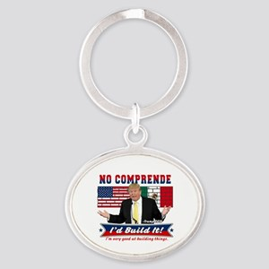 Trump 2016 Mexico US Wall Oval Keychain