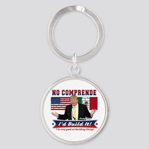 Trump 2016 Mexico US Wall Round Keychain