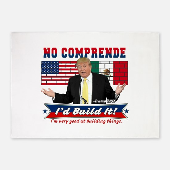 Trump 2016 Mexico US Wall 5'x7'Area Rug