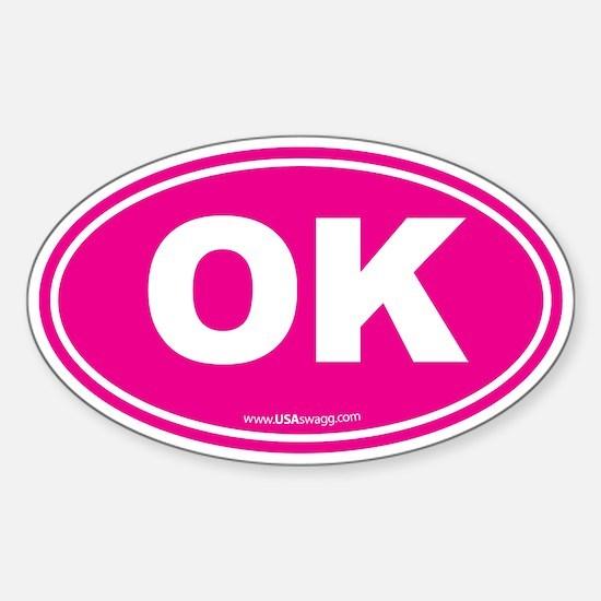 Oklahoma OK Euro Oval Sticker (Oval)