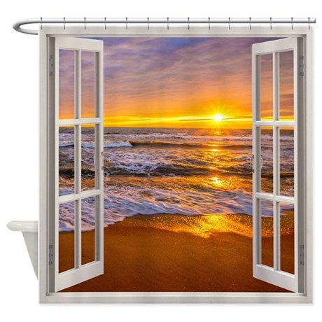 Window Seascape View Shower Curtain By Simpleshopping