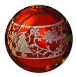 Red Christmas Ornament Round Car Magnet