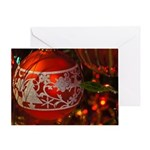 Red Christmas Ornament Greeting Cards