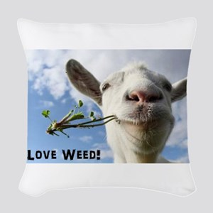 Weed Goat Woven Throw Pillow