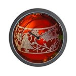 Red Christmas Ornament Wall Clock