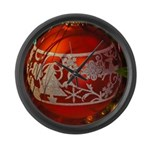 Red Christmas Ornament Large Wall Clock