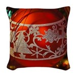 Red Christmas Ornament Woven Throw Pillow