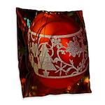 Red Christmas Ornament Burlap Throw Pillow