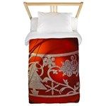 Red Christmas Ornament Twin Duvet