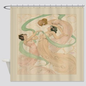 Vintage French Dancing Women Shower Curtain