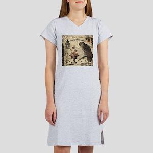 Modern Vintage Halloween Owl Women's Nightshirt