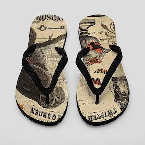 Modern Vintage Halloween Owl Flip Flops
