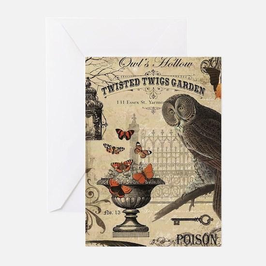 Modern Vintage Halloween Owl Greeting Cards