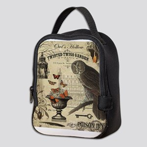 Modern Vintage Halloween Owl Neoprene Lunch Bag