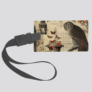 Modern Vintage Halloween Owl Luggage Tag