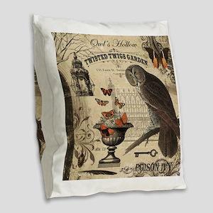 Modern Vintage Halloween Owl Burlap Throw Pillow