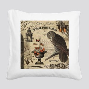 Modern Vintage Halloween Owl Square Canvas Pillow