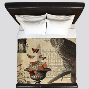 Modern Vintage Halloween Owl King Duvet