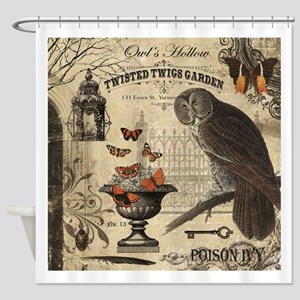 Modern Vintage Halloween Owl Shower Curtain