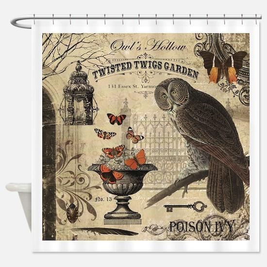Modern Vintage Halloween Owl Shower Curtain