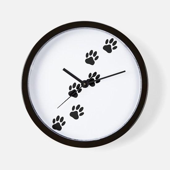 Cartoon Dog Paw Track Wall Clock