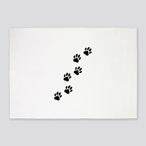 Cartoon Dog Paw Track 5'x7'Area Rug