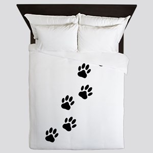 Cartoon Dog Paw Track Queen Duvet