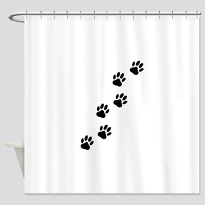 Cartoon Dog Paw Track Shower Curtain