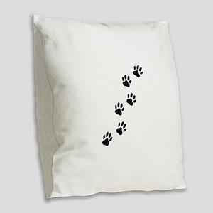 Cartoon Dog Paw Track Burlap Throw Pillow