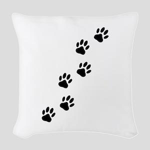 Cartoon Dog Paw Track Woven Throw Pillow