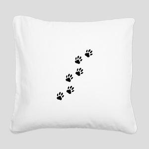 Cartoon Dog Paw Track Square Canvas Pillow