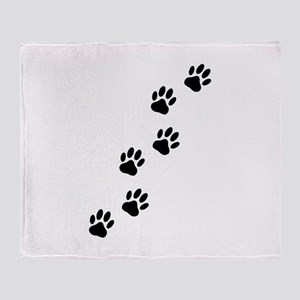 Cartoon Dog Paw Track Throw Blanket