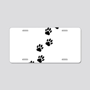 Cartoon Dog Paw Track Aluminum License Plate