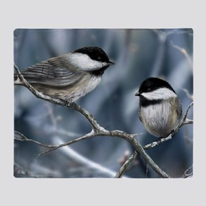 chickadee song bird Throw Blanket