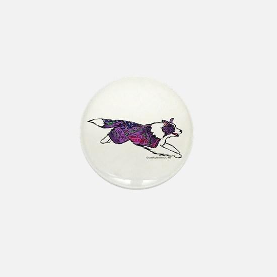 Zentangle Border Collie Mini Button