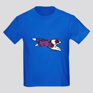 Zentangle Border Collie Kids Dark T-Shirt