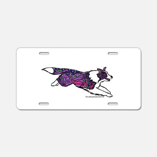 Zentangle Border Collie Aluminum License Plate
