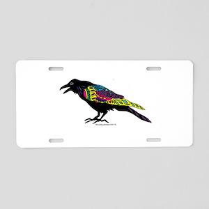Zentangle Crow Aluminum License Plate